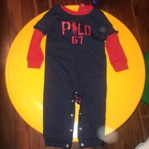 Ralph Lauren navy and red onsie 9months